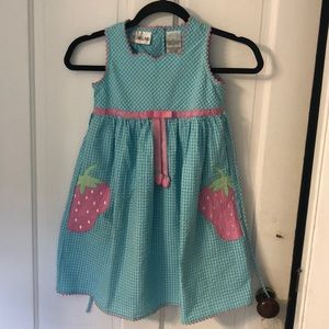 Lt blue gingham seersucker sundress w/watermelons